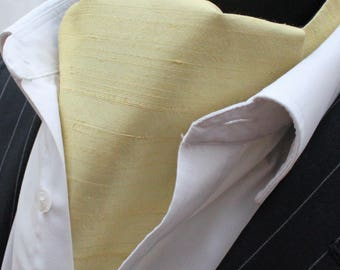 Cravat Ascot. 100% Silk Front. UK Made. Daffodil Dupion Silk + matching hanky.