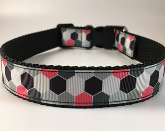 """Handcrafted 1"""" Pink/Black/Gray Patterned Dog Collar"""