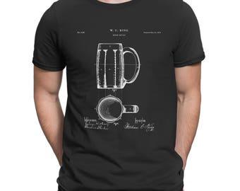 Drinking Beer T-Shirt, Beer Mug Patent Shirt, Gift For Beer Lover, Beer Mug Tee Gift For Him, Beer Drinker Gift For Husband, Bar Shirt P200