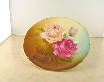 Vintage Decorative Rose and Gold Leaf Plate - Unmarked