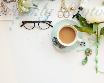 Mint Green Desk & Lifestyle Stock Image / Styled Stock Photography / Stock Photo / Styled Desktop / Feminine Flatlay /Frankly Photos File #5