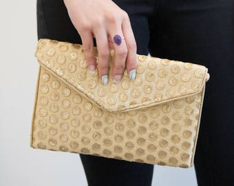 Gold Handbag, Gold Embroidered Bag, Gold Sequin Clutch Bag, Gold Purse, Evening Fabric Bag, Stylish Vegan Bag,  Ethnic Handbag, Envelope Bag