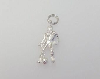Vintage Footballer Charm Pendant in .925 Sterling Silver