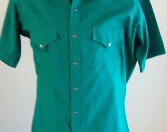 Vintage 1970s Ely Cattleman Short Sleeve Dark Green Pearl Snaps Western Shirt