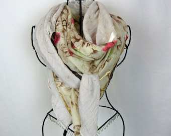 Large beige square scarf collection 180, large shawl, beige, flowers, dragonfly scarf winter scarf
