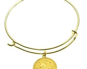 Vintage Capricorn Coin Zodiac Wire Bangle