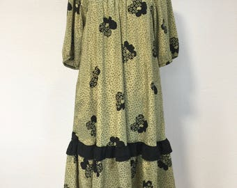 1980s Vintage Olive Green Gypsy Dress Bohemian Boho Dress Deadstock Vintage Dress with Tags Womens Retro Dresses Frock Dress Muumuu Dress