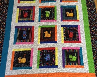 Colorful Cats Quilt, Quilts for Kids, Homemade Quilts, Cat Quilts