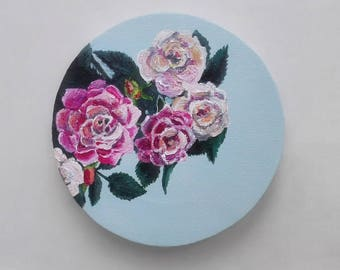 Original painting, rose, Original acrylic art, art on canvas, roses and love, gift for mom, gift for girlfriend