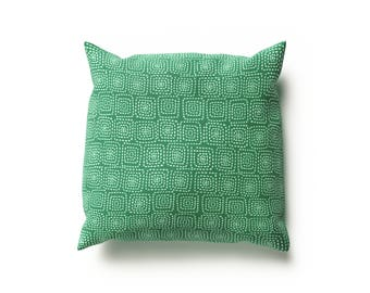 Green Geometric Cushion Cover - 41cm Square, Handmade