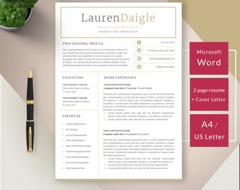 Professional Resume Template Instant Download, Creative Resume, Resume  Template Marketing, Resume Template Word  Creative Marketing Resumes