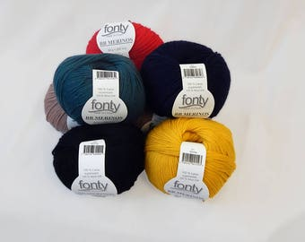 BB MERINO brand FONTY - balls of yarn - machine washable - fingering. 2.5/3-100% wool - 50 g =