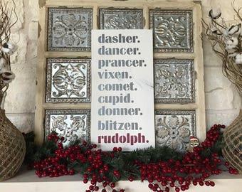 Farmhouse Reindeer Names Sign