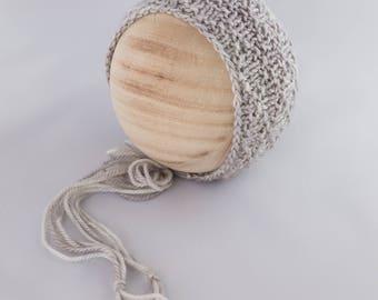 Whistlewood Bonnet, newborn photography prop, knit bonnet prop