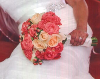 wedding, bouquet, corsage, boutonniere, table, arrangement. roses, silk, fresh, round, hand tied, peach, coral, flowers, wedding flowers