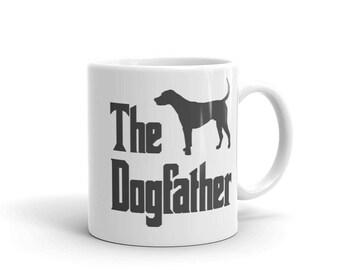 The Dogfather mug, Foxhound silhouette print, funny dog gift mug, The Godfather parody, dog lover mug