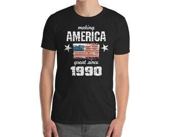 Making America great since 1990 T-Shirt, 28 years old, 28th birthday, custom gift, 90s shirt, Christmas gift, birthday gift, birthday shirt
