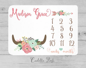 Baby Girl Milestone Blanket, Girl Antler Floral Newborn Photography Backdrop -Month Growth Chart Quilt-Personalized Tribal Girl Shower Gift