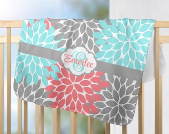 Floral Monogram Blanket-Aqua Gray Coral Nursery-Personalized Blanket-Baby Girl Name-Shower Gift-Swaddle Blanket Pillow Set-Baby Pillow