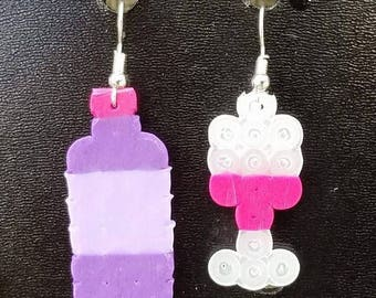 Wine Bottle and Glass Earrings