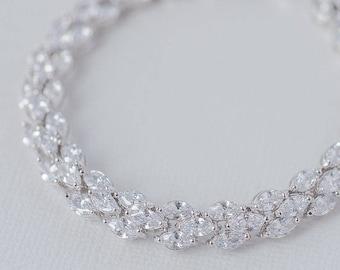Marquise Cubic Zirconia Bracelet, CZ Bridal Bracelet, AAA Cubic Zirconia Wedding Bracelet, Art Deco Bracelet, Rodium and CZ Bracelet