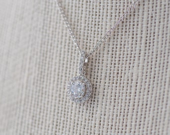 Isla Cubic Zirconia Necklace Silver, CZ Bridal Necklace, Wedding Pendant Necklace, Crystal, Bridesmaid Necklace, Dainty Silver Necklace