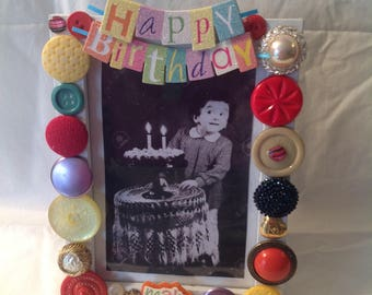 Happy birthday to You! Adorable 5x7 Handmade Jeweled Birthday Picture Frame. Part of our New Collection!