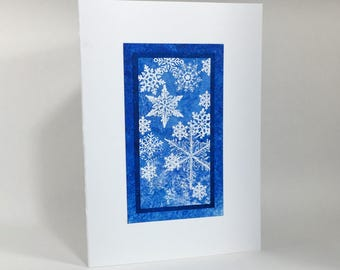 Solstice card: embossed snowflakes on blue, individually handmade, not printed, happy solstice, fine cards, A7, SKU SOA71011