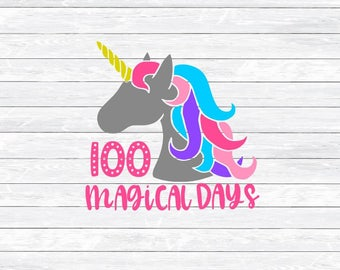 100 magical days, 100 days of school, Unicorn Svg, Svg Dxf Png, Svg files for, Cricut, Silhouette, 100th day, School, Shirt, Girl Svg, Cute