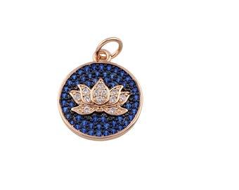 Lotus Flower Pendant, Lotus Flower Charm, Yoga Pendant, Yoga Charm, CZ Lotus Flower, Pave Lotus Charm, Yoga Teacher Charm  (1-27)