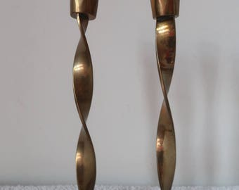 2 X Brass Candle Sticks Twisted Dinner Table Decor
