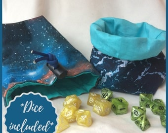 Dice Bag- Elemental Dice Bag - Standing Dice bag - Bag of Holding - Space Dice Bag - Water Dice Bag