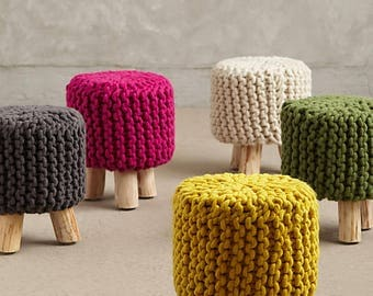 Stuffed Hand Knitted Pouf/Ottoman/Nursery Decor/Baby Shower Gift/Footstool/Floor Pillows/Chairs/Extra seating/Stools