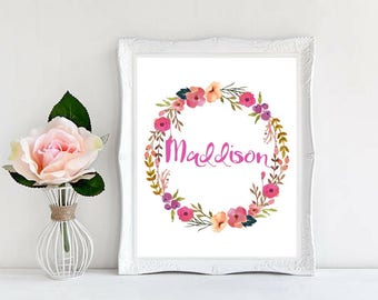 Custom Names Baby Girl Names Personalized Prints Nursery Decor Baby Shower Gifts Beautiful Watercolor Floral Wreath