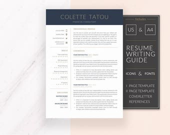 Professional Resume Template Design | Resume Template for Word | CV Template + Cover Letter & References | Instant Download | COLETTE