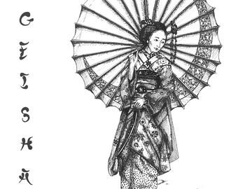 Geisha pen drawing