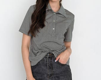 VINTAGE Black White Polo Short Sleeve Retro Shirt