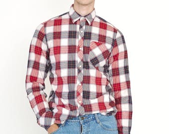 VINTAGE Red CROCKER Checked Long Sleeve Button Downs Retro Shirt