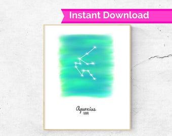 Aquarius Horoscope wall art, Aquarius star sign constellation print, Horoscope print, Aquarius gift idea, Astrology wall art, Aquarius art