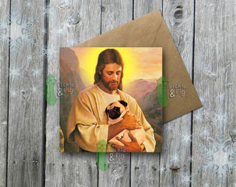 Christmas Card - Xmas - Festive - Pug - Jesus - Dog - Jesus Christ - Illustration - Quirky - Funny - Unique