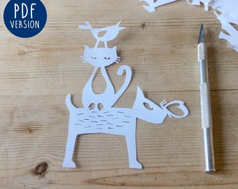 Papercutting etsy for Balancing bird template