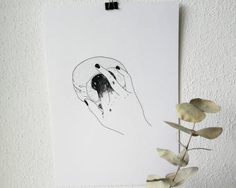 W A I T, W H A T? - original illustration/ wall art/ tattoo template