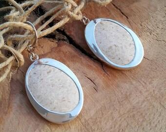 Silver Earrings/White earrings/drop earrings/gift for her/stone earrings/handmade earrings/limestone earrings/