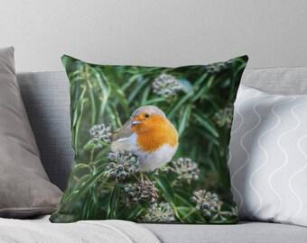 Robin In Bush Best Pillow Gifts, 18x18 Throw Pillow, Bird Pillow, Gifts For Her, Gifts For Mom, Made in USA