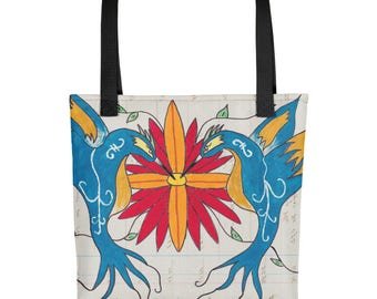San Felipe Blue Birds - Amazingly beautiful full color tote bag with black handle featuring children's donated artwork.