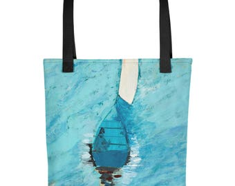 Boat At Sea - Amazingly beautiful full color tote bag with black handle featuring children's donated artwork.