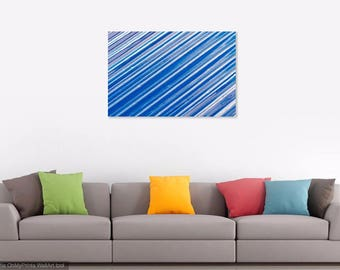 "Abstract Minimalism Blue Streaks Print: ""Travel-Sized"""