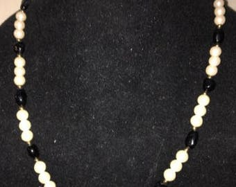 Vintage Pearl and Black Bead Necklace