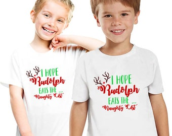 The red nose reindeer Kids Tee, Family Christmas pajama tee, Kids Christmas gift,Rudolph the reindeer tees, Naughty list,Christmas shirt M79