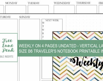Weekly WO4P UNDATED Vertical Printable TN Insert - B6 Size